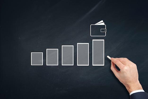 De grafiek van de bedrijfsmensenhand in chlkboard