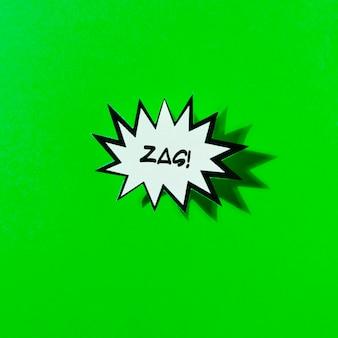 De grappige bel van de tekstboom in pop-artstijl op groene achtergrond