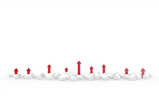 De groei van de onroerende goederenbedrijf met groene pijl. 3d illustratie.