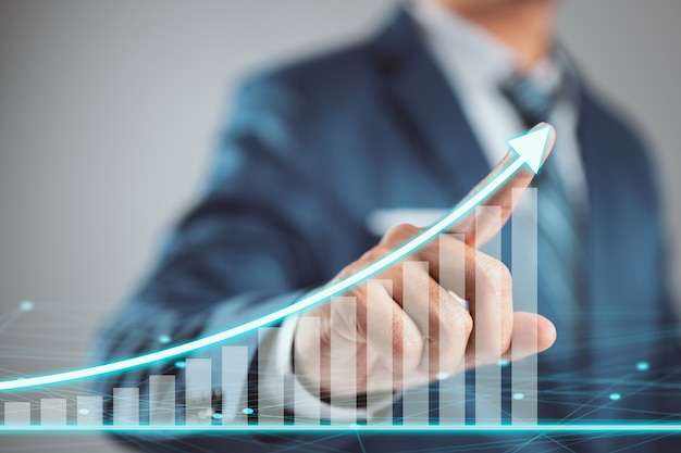 De groei van het zakenmanplan en verhoging van positieve indicatoren. ontwikkeling en groei concept.