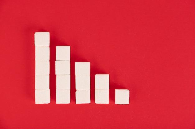 De groeimeter is gemaakt van suikerklontjes. concept voor de groei van het aantal patiënten met diabetes over de hele wereld. rode achtergrond. ruimte kopiëren.