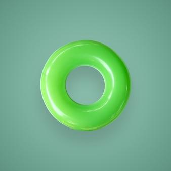 De groene kleur zwemt ringen die op mooie pastelkleurachtergrond worden geïsoleerd, met het knippen van weg.