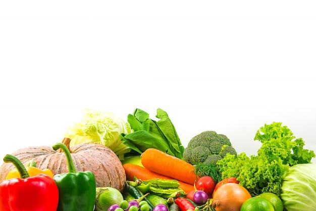 De groenten van de inzameling isoleerden witte achtergrond