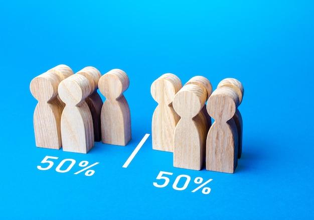 De groep mensen wordt gelijk verdeeld door lijnvisualisatie van statistische gegevens 50 van 100