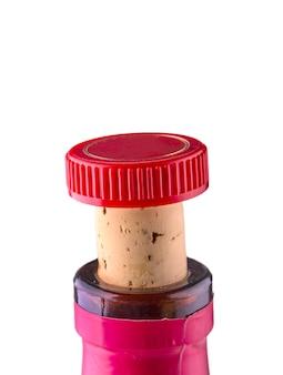 De hals van een wijnfles met een stop