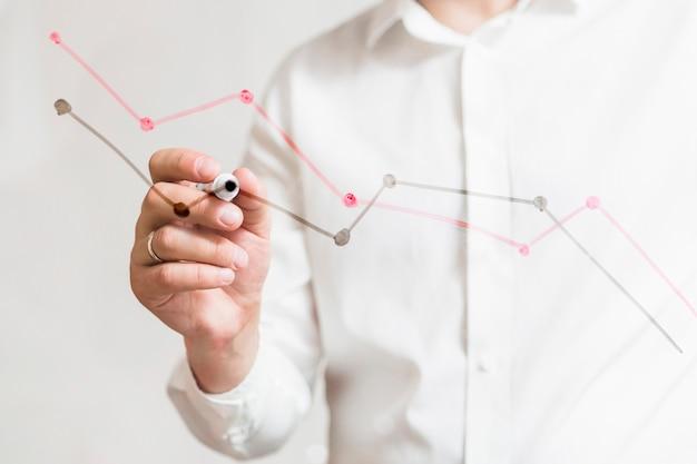 De hand die van de businessperson grafieken op glasraad met teller voorbereiden