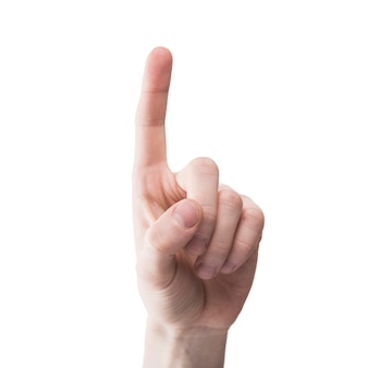 De hand die van de close-up omhoog benadrukt