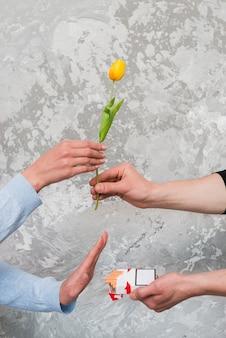 De hand die van de vrouw gele tulp accepteert en zak van sigaret van de mens verwerpt