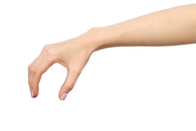 De hand die van de vrouw iets grijpt of meet