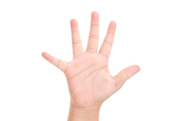 De hand van de jongen getoond vijf vingersymbool op geïsoleerde witte achtergrond voor grafisch ontwerper.