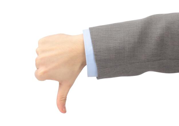 De hand van de man toont een symbool