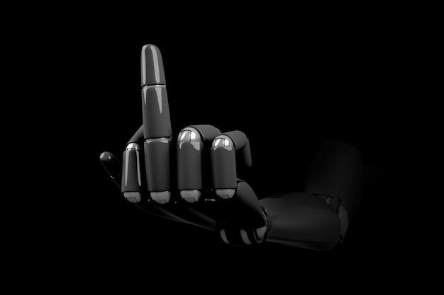 De hand van de robot is gemaakt van zwart plastic en toont een gebaar met de middelvinger omhoog als een symbool van een negatieve houding.