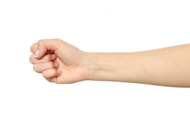 De hand van de vrouw met vuistgebaar