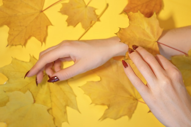 De handen van mooie vrouwen op document gele achtergrond, het concept van de de herfsthandzorg.