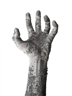 De handeslinger van de monsterzombie op wit wordt geïsoleerd dat. Premium Foto