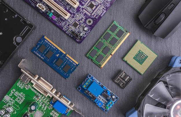 De hardwareconfiguratie van de computer is in het donker aangelegd