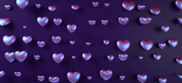 De harten van de achtergrond valentijnskaartendag patroon 3d teruggevende illustratie. paarse neon holografische plat lag.