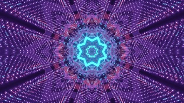 De heldere 3d visuele achtergrond van de illustratie abstracte kunst met glanzende kleurrijke neonlichten die caleidoscopisch geometrisch stervormig patroon creëren
