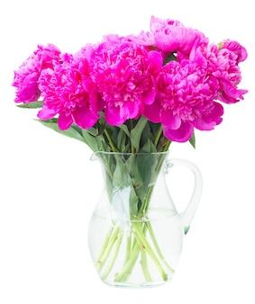 De heldere roze pioen bloeit boeket in glasvaas die op wit wordt geïsoleerd