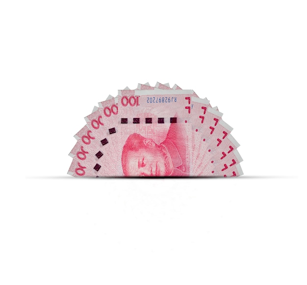 De helft van het bankbiljet van yuan van china. yuan is wereldwijd valuta en populair voor uitwisseling met anderen.