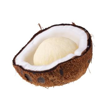 De helft van kokosnoten die over de witte ruimte worden geïsoleerd.