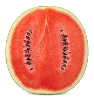 De helft van watermeloen geïsoleerd op een witte achtergrond. watemelon uitknippad