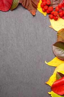 De herfst verlaat kaderachtergrond op zwarte steen. bovenaanzicht