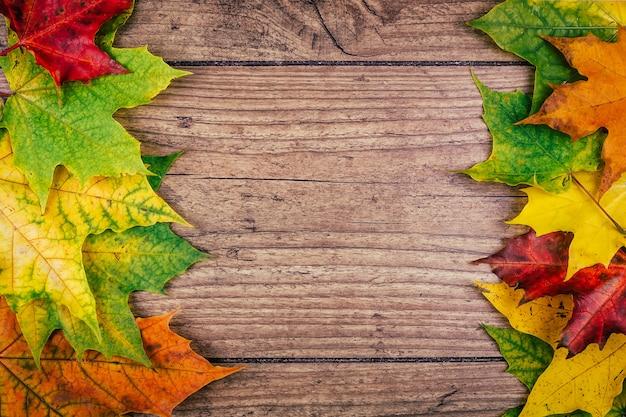 De herfstachtergrond met de kleurrijke bladeren van de dalingsesdoorn op rustieke houten lijst. thanksgiving vakantie concept. groene, gele en rode herfstbladeren. bovenaanzicht