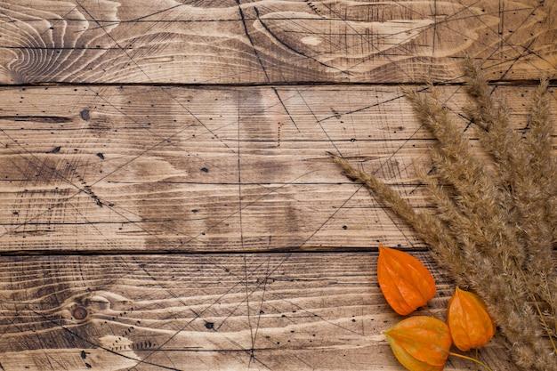 De herfstbloemen op houten achtergrond met copyspace.