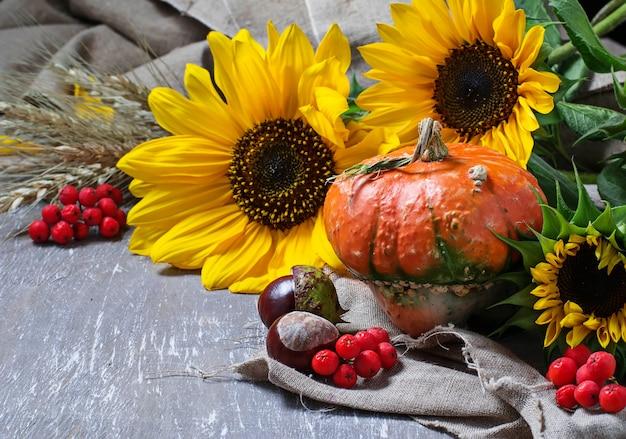 De herfststilleven met pompoen en zonnebloem