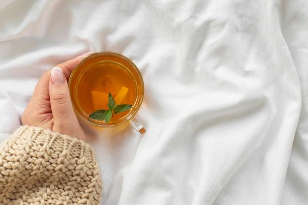 De holdingskop thee van de hand met munt