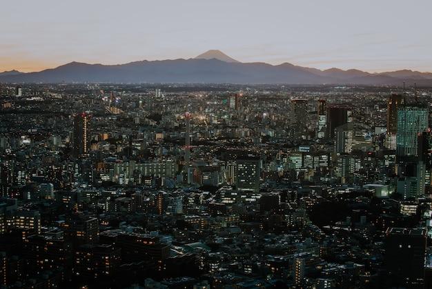 De horizon en de gebouwen van tokyo van hierboven, mening van de prefectuur tokyo met fuji-onderstel op de achtergrond