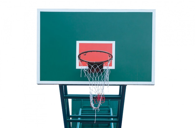 De houten basketbalring isoleert witte achtergrond, basketbalmand
