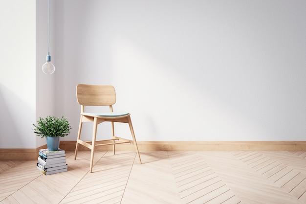 De houten stoel op moderne binnenlandse woonkamer, 3d geeft terug