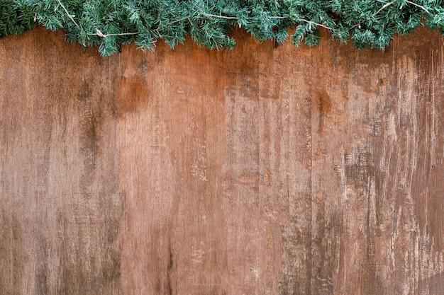 De houten textuur brede achtergrond en het groene gras op de bovenkant voor aardhout