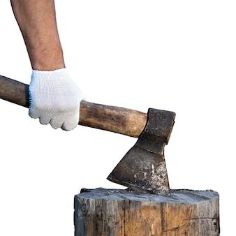 De houthakker dient een beschermende handschoen in en houdt een oude bijl vast die in een boomstronk wordt geplakt die op de witte achtergrond wordt geïsoleerd