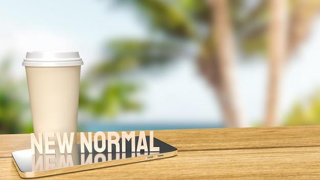 De houttekst nieuwe norm voor levensstijl in covid 19 concept 3d-rendering