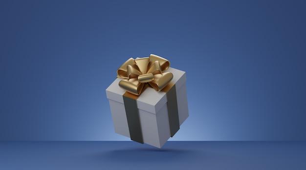 De huidige doos van kerstmis en nieuwjaar, witte giftdoos met gouden lint over blauwe achtergrond. 3d-weergave.