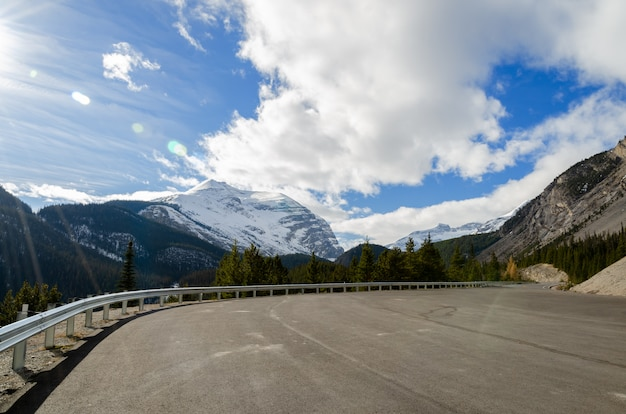 De icefieldweg van colombia door het nationale park van jasper, alberta, canada
