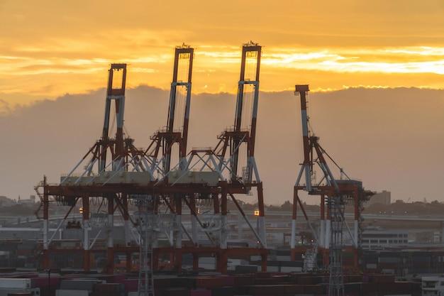 De industriële kraan van de havenhaven in zonsondergang