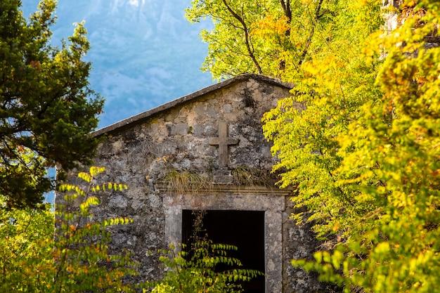 De ingang van de oude katholieke kerk begroeid met groen