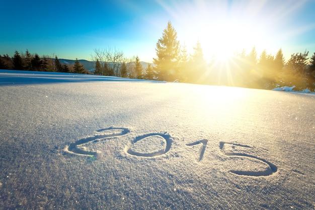 De inscriptie 2015 op sneeuw tegen de achtergrond van het bos en de heuvels op een zonnige ijzige winterdag.
