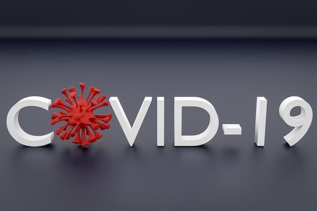 De inscriptie in het rood met een paar microben in plaats van letters op een grijze geïsoleerde achtergrond. rendering van het coronovirusvirus.