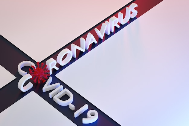 De inscriptie in het rood met een paar microben in plaats van letters op een rode geïsoleerde achtergrond. rendering van het coronovirusvirus.
