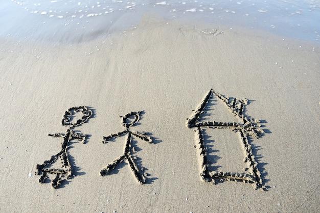 De inscriptie op het zand met een prachtige surf - vakantie!