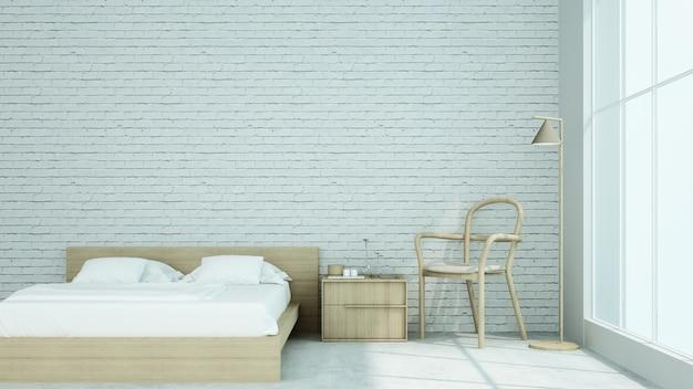 De interieur loft stijl slaapkamer ruimte in condominium - 3d-rendering