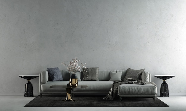 De interieurdecoratie en mock-up meubels van moderne loft woonkamer en lege betonnen muur textuur achtergrond 3d-rendering