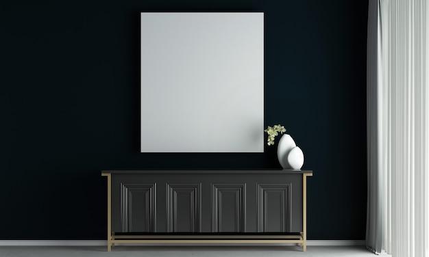 De interieurdecoratie en mock-up meubels van woonkamer en leeg canvas op zwarte muur textuur achtergrond 3d-rendering