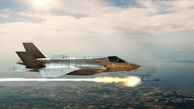 De jager in de lucht lanceert een raket