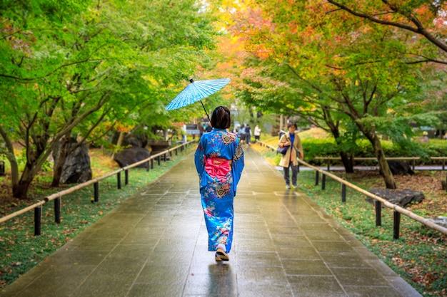 De jonge meisjestoerist die blauwe kimono en paraplu draagt, maakte een wandeling in het park in de herfstseizoen japan